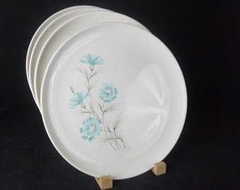 Vintage Boutonniere Ever Yours Dinner Plates * Aqua Carnation * Blue Bachelor Button * Set of 4
