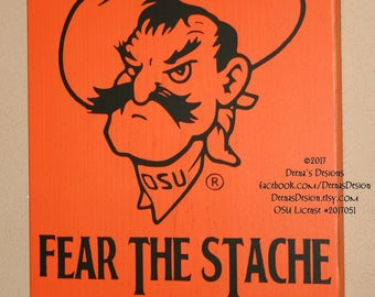 Oklahoma State University Sign, OSU Cowboys, Distressed Wood Sign, OSU Pistol Pete, Fear the Stach, Pistol Pete Sign - Officially Licensed