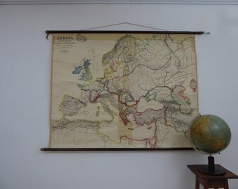 Original (1910) Antique Map School Chart of Europe - Early 16th Century-  Large German School Map - Justus Perthes