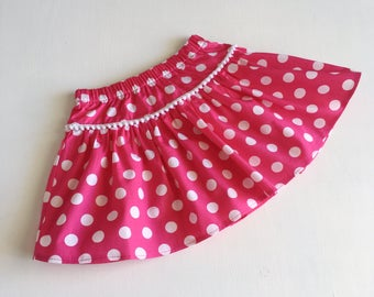 pink and White Spotty Twirly Skirt