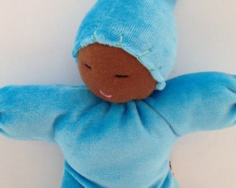 Waldorf first doll, sheep wool and cotton baby