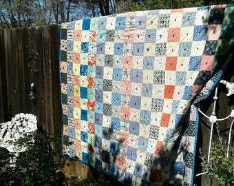 Vintage Patchwork Quilt 5 Inch Hand-Tied Squares 74W 90L