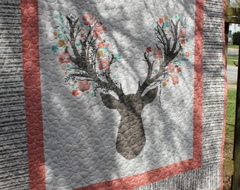 Pink and Gray Stag Baby Quilt // Nature Quilt // Toddler Quilt // Baby Shower Gift // Baby Gift // Stag Head Quilt