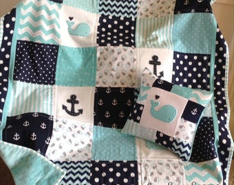 Nautical Baby quilt/Aqua Navy and White/available In 2 sizes/HANDMADE in USA