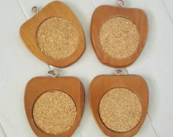 4 Apple Coasters Wood Cork