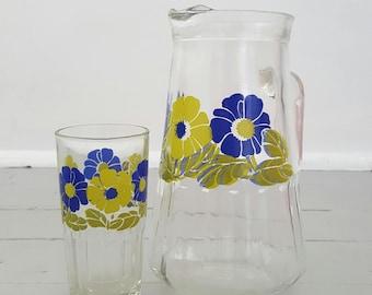 Vintage Drink Tumbler & Pitcher Retro Floral