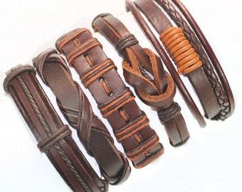 Brown Friendship Genuine Leather Bracelets Set.