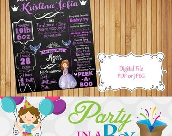 Custom Sofia the First Birthday board, chalkboard Poster Board Sign Printable photo prop