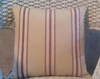 French ticking pillow cover/ dk red, blue, cocoa / invisible zipper /French country, French laundry, farmhouse, cottage, country