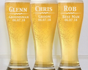 Groomsmen Gift, 8 Personalized Beer Glasses, 16oz Glasses, Custom Engraved Pilsner Glass, Wedding Party Gifts, Gifts for Groomsmen