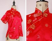 Vintage 90s 50s style Cheongsam red rayon satin top  Cheongsam top  Vintage Chinese top  Chinese top  Asian top  Oriental top