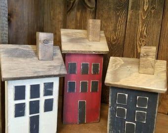 Saltbox house, handmade wooden saltbox house, county decor