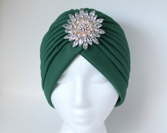 Green Turban Headband, Fullhead Turban Wrap,Twisted Turban, Front Twist Headwrap,Modern Turban,Modern Hijab,Turban Headwrap