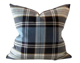 Pillow Cover Blue, Tan, and Brown Plaid