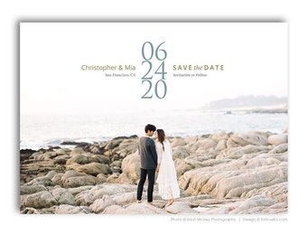 Save The Date Card Photoshop Template - Engagement Announcement Template - For Photographers - Photoshop Required - CHRISTOPHER & MIA - 1644