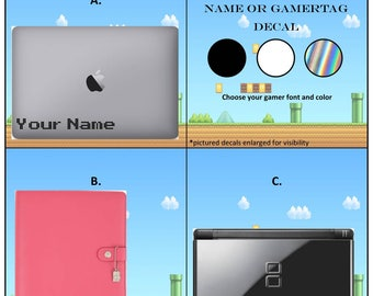 Gamertag or Name decal - permanent vinyl - personalize your tablet, laptop, game console, planner, car