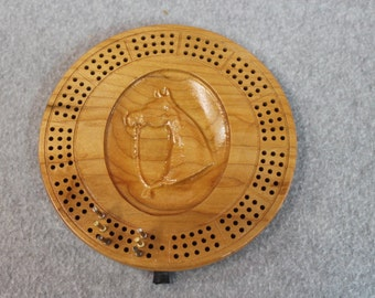 3D Wood HorseTravel Cribbage Board Made of Maple Wood, Metal Pegs
