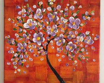 Impasto painting, cherry blossom tree painting, original abstract textured art,  orange yellow small wall decor