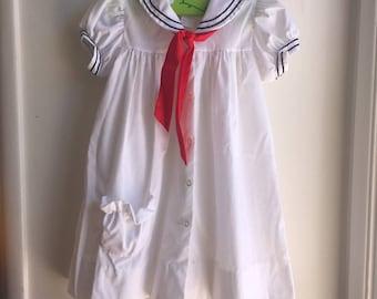 VTG Nautical Sailor Dress Red White Blue Sz 4-5Y