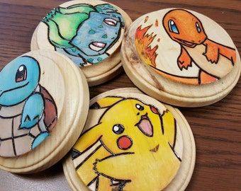 PoKeMoN coaster set of 4 / woodburned painted