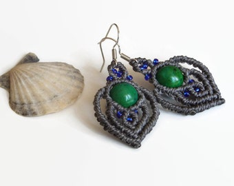 Gray macrame earrings with blue glass beads and Chrysocolla, tribal dangle earrings with semiprecious gemstone, macrame fashion jewelry