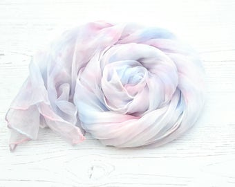 Pastel silk scarf   hand dyed silk scarf   soft blue rose grey colors