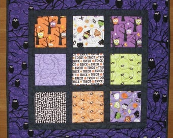 Halloween Quilted Table Topper Wall Hanging, Purple Black Table Topper Wall Hanging, Owls Witches Halloween Table Mat, Quiltsy Handmade