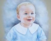 Pastel portrait of a little boy. Head and shoulders portrait