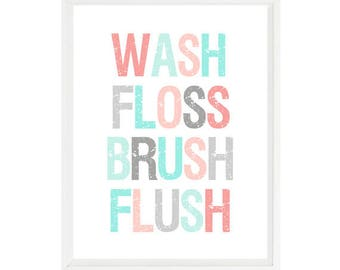 Bathroom Wall Art, Wash, Floss, Brush, Flush, Bathroom Decor, Aqua