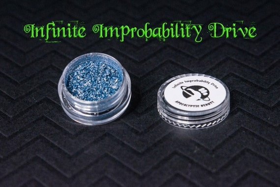 Infinite Improbablity Drive - vegan steel blue eyeshadow with gold shift