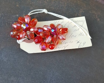 Red Vintage Flower Earrings