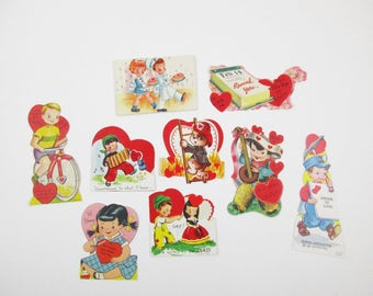 1950s Paper Valentines - Reuse - Reinvent - Decorate - Collect - Children - Nine Valentines Made in USA - FREE Shipping - No. 3