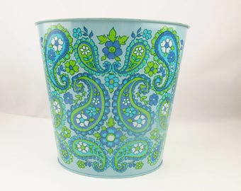 Vintage Light Blue Metal Waste Basket - Oval With Paisley - Cerulean Blue, Olive Green and White - Waste Basket -  1960s
