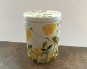 Danish IRA tin box Round floral tin box with a lid Floral yellow green canister Mid century Kitchen decor Storage box
