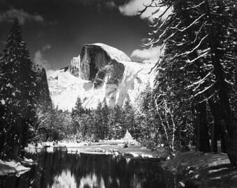 Ansel Adams, Half Dome, Merced River, Winter, snow, Yosemite, clouds, mountains, black & white photo, fine art print poster OR canvas