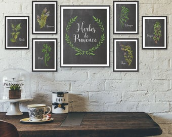 unframed watercolor herb poster set french wall art herb print set chalkboard kitchen art