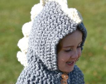 Hand-Knitted Grey Dinosaur Hood Animal Winter Hat