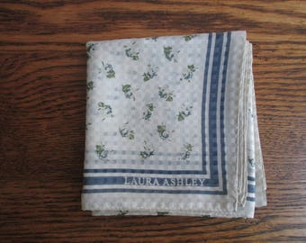 Vintage Laura Ashley White and Blue Flowered Scarf