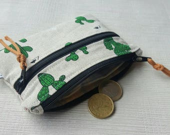 Cactus Zipper Wallet, Small Card Holder, Vegan Coin Purse, Change Pouch, Women & Men Wallet