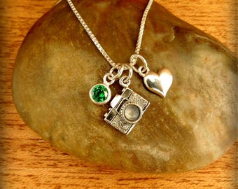 Sterling silver 3D camera necklace, photographer jewelry, graduation jewelry, photo student