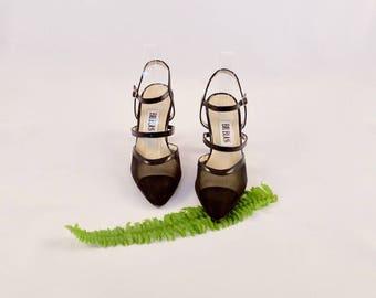 sale BILL BLASS 90s mesh pumps / 7 - 37.5 / pointed toe pumps / pointy toe heels / strappy heels / minimalist heel / minimalism 90s