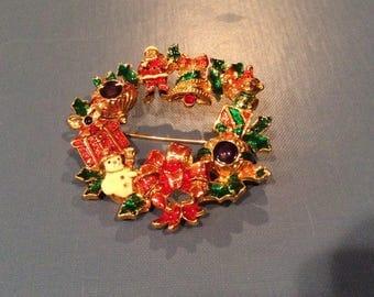 Designer Christopher Radko Christmas Wreath Brooch, Colorful Enamel Christmas Pin, Holidays Celebrations, Rhinestones, Christmas Decorations