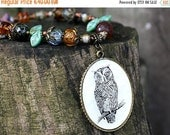 50%off SALE Owl necklace, Woodland, Amber Topaz, Olivine, Owl Pendant, long necklace on brass chain, rustic, beaded jewelry by MayaHoney, N0