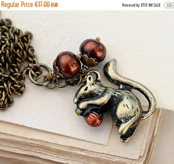 50%off SALE Squirrel Necklace, Brass chain, Woodland necklace, Squirrel Jewelry, Nature lover gift by MayaHoney