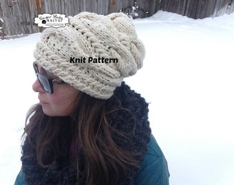 KNIT PATTERN - Slouchy Cabled Beanie Pattern, Winter Pattern, Hand Knit Beanie Pattern, Slouchy Beanie, Beanie, Pattern, Oversized Cabled