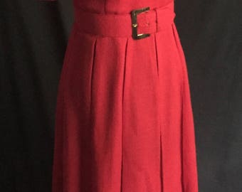 Vintage Late 50's/Early 60's Red Box Pleat Dress