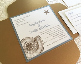 Sea Shell Wedding Invitation // Beach Chic Wedding Invitation // Nautical Wedding Invitation