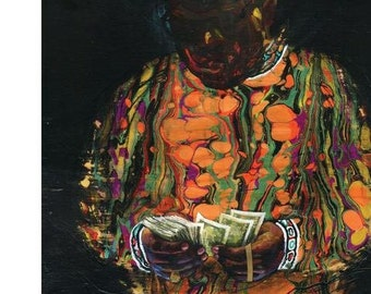 "Biggie Smalls Art Canvas Print | Canvas Reproduction of ""Rollin In Paper"" by Black Ink Art"