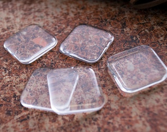 25- 25mm (1 inch) Square with Rounded Corner Puffy Glass Cabochons - Glass Tile Inserts - Clear Crafting Glass