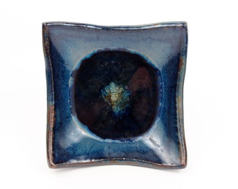 Square cobalt blue candle dish with fused glass